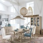 Dining Room, Brick Floor Tiles, Wooden Table, White Blue Chairs, Rattan Pendants, White Wall, Wooden Cabinet