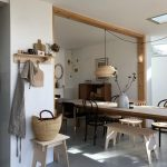Dining Room, Grey Floor, White Wall, Wooden Long Table, Chairs, White Bench, Floating Shelves