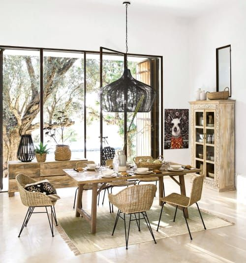 dining room, marble floor, white wall, black rattan, wooden table, rattan chairs, wooden cabinet