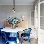 Dining Room, Seamless Floor, White Wall, White Table, Blue Chairs, Pendants