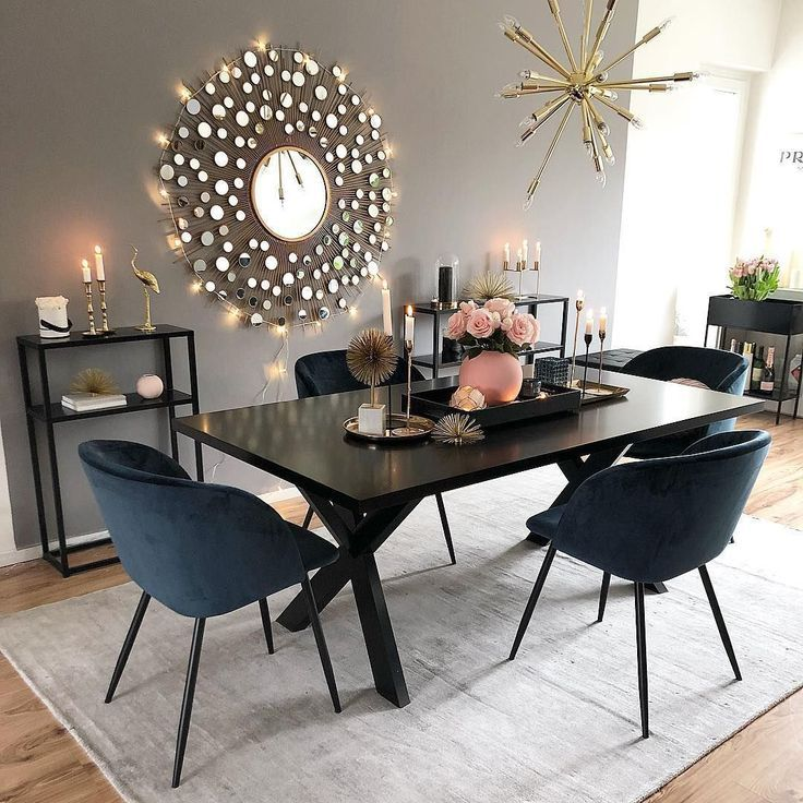 dining room, wooden floor, grey wall, black dining table, black chairs, modern pendant, black shelves, grey rug