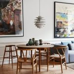 Dining Room, Wooden Floor, White Wall, Wainscoting, Wooden Table, Wooden Chairs With Rattan Seat