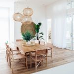Dining Room, Wooden Floor, Wooden Rectangular Table, Wooden Chairs, Rattan Pendants