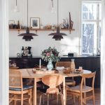 Dining Room, Wooden Floor, Wooden Table, Wooden Chairs, White Wall, Black Pendants, Black Cabinet