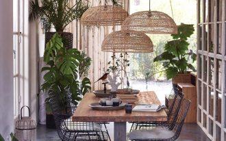 dining room, wooden table, black metal chairs, rattan pendants, seamless floor