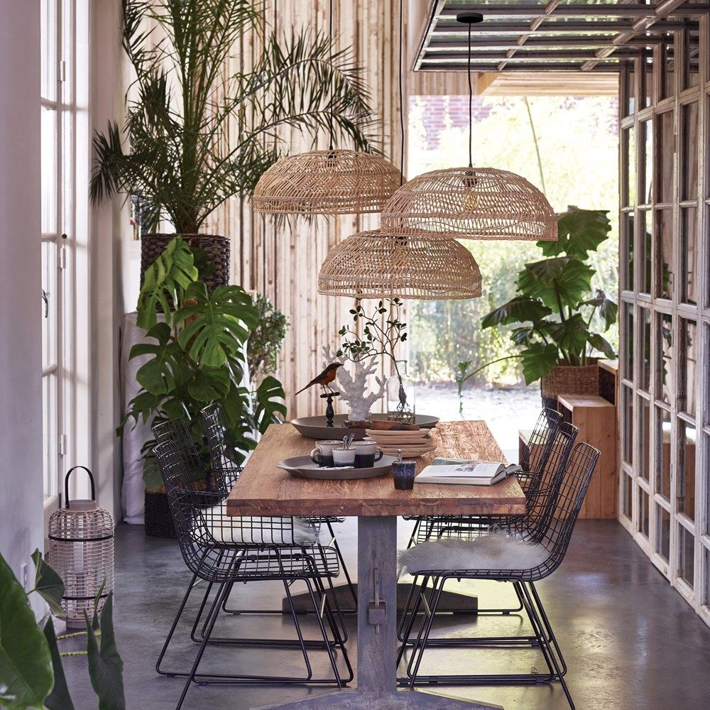 dining room, wooden table, black metal chairs, rattan pendants, seamless floor