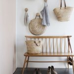 Entrance, Grey Seamless Floor, White Wall, Wooden Bench, Rattan Bags