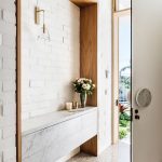 Entrance, Marble Floor, White Exposed Wall, Shelves Nook, White Marble Floating Cabinet, Glass Sconce