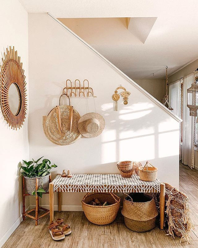 entrance, wooden rattan bench, rattan baskets, rattan hooks, rattan mirror, wooden floor