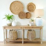 Entrance, Wooden Table, Wooden Floor, Rattan Wall Decorations, White Table Lamp