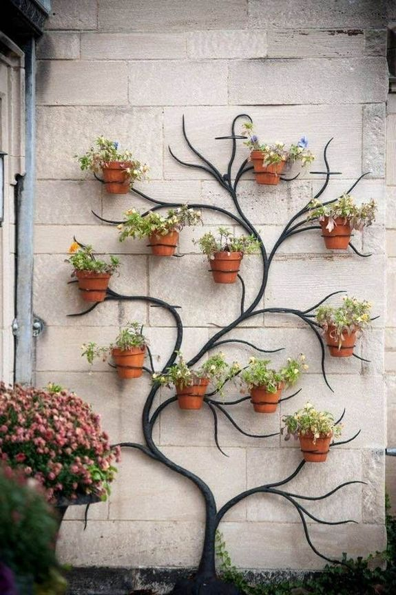 floating plant pots on the wall, black treee background