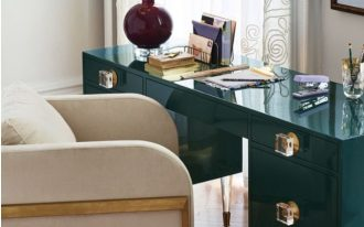 green study desk, acrylic handler and legs, white chair, table lamp