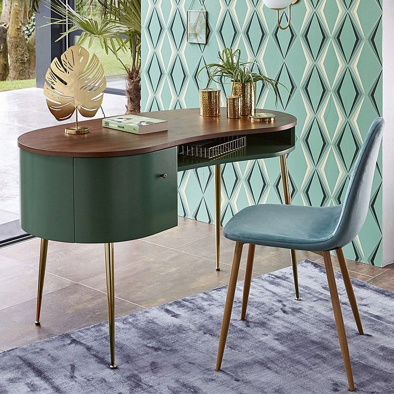 green wooden table, golden legs, green chair with brown legs