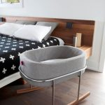 Grey Baby Rocking Bed, Wooden Legs