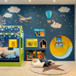 Kid Room, Blue Wall, White Wall, Mural, Green Wooden House Shaped Frame Bed Platform, Yellow Round Nook