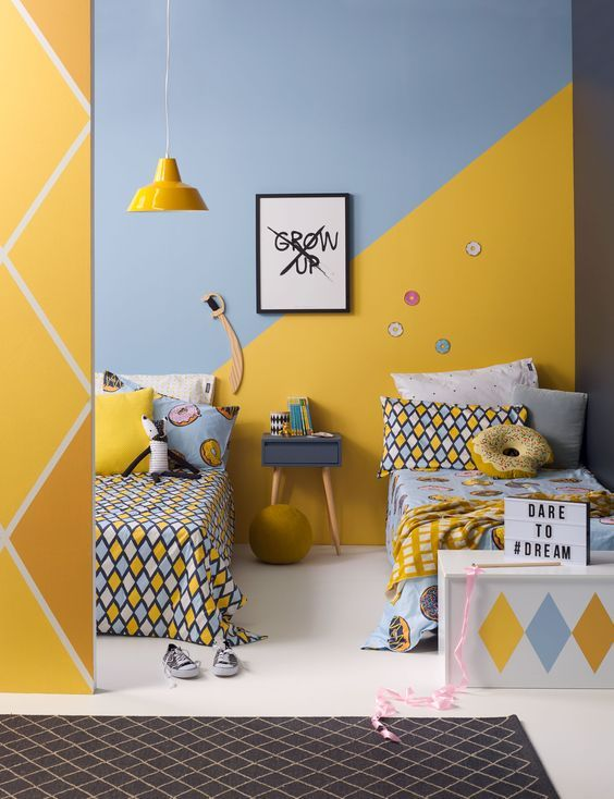 kid room, white floor, blue yellow wall, yellow pendant, blue side table