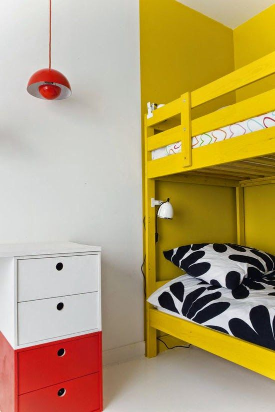 kid room, white floor, white wall, yellow bunk bed, white cabinet, red cabinet, red sconce