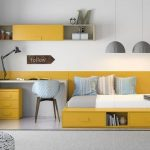 Kid Room, White Wall, Floating Yellow Shelves, Yellow Wall, White Table, Yellow Cabinet, Yellow Bed Platform, Grey Pendants