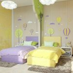 Kid Room, Yellow Wall, Grey Wall, Yellow Bed, Blue Bed, White Cloud Pendant