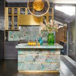 Kitchen, Black Herringbone Floor Tiles, Mirror Wall, Blue Marble Island, Golden Pendant, Golden Cabinet