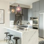 Kitchen, Light Wooden Floor, White Wall, Grey Cabinet, White Marble Island, Black Stools, Glass Pendant