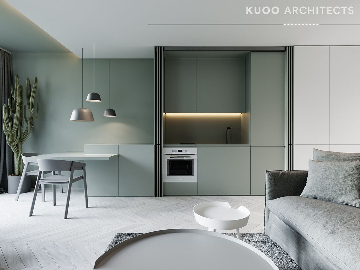 kitchen, white floor, green cabinet, grey dining table, grey chairs, pendants