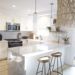 Kitchen, White Upper Bottom Cabinet, Wooden Floor, White Pendants, Wooden Stools