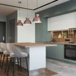 Kitchen, Wooden Floor, Green Cabinet, Wooden Backsplash, White Island With Wooden Top, White Stools, Copper Pendants