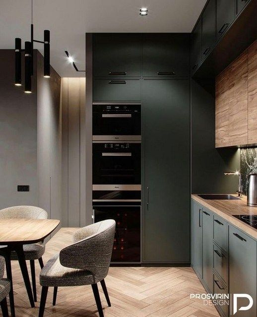 kitchen, wooden floor, green cabinet, wooden cabinet, wooden table, grey chairs, black pendants