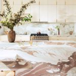 Kitchen, Wooden Floor, Pink Marble Island, Wooden Cabinet, White Marble Wall