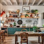 Kitchen, Wooden Floor, White Exposed Brick Wall, Green Cabinet, Wooden Floating Shelves, Wooden Table, Wooden Stool,