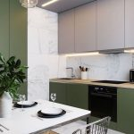 Kitchen, Wooden Floor, White Marble Wall, Floor And Backsplash, White Upper Cbainet, Green Bottom Cabinet, White Dining Table, Metal Chairs