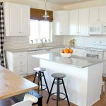 Kitchen, Wooden Floor, White Upper Bottom Cabinet, White Subway Tiles, White Island, Black Stools