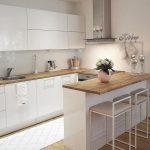 Kitchen, Wooden Floor, White Wall, White Upper Bottom Cabinet, Wooden Top Table, White Stools