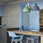 Kitchen, Wooen Floor, Grey Seamless Wall, Blue Cabinet, Black Tiles, Wooden Table, Blue Chairs, Blue Green White Pendants