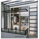 Laudry Room, White Subway Wall Tiles, Wooden Cabinet With White Machine, Black Iron Net