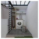 Laundry Room, Grey Floor Tiles, White Wall Tiles, White Wall, Glass Ceiling, Black Iron Net And Rack, Wooden Cabinet, White Shelves