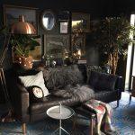 Living Room, Blue Rug With White Flowers, Black Sofa, Black Wall, Chopper Floor Lamp