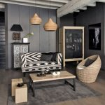Living Room, Gery Floor, Grey Wooden Wall, Grey Wall, White Black Patterned Sofa, Wooden Coffee Table, Rattan Chairs, Rattan Pendants, Cabinet
