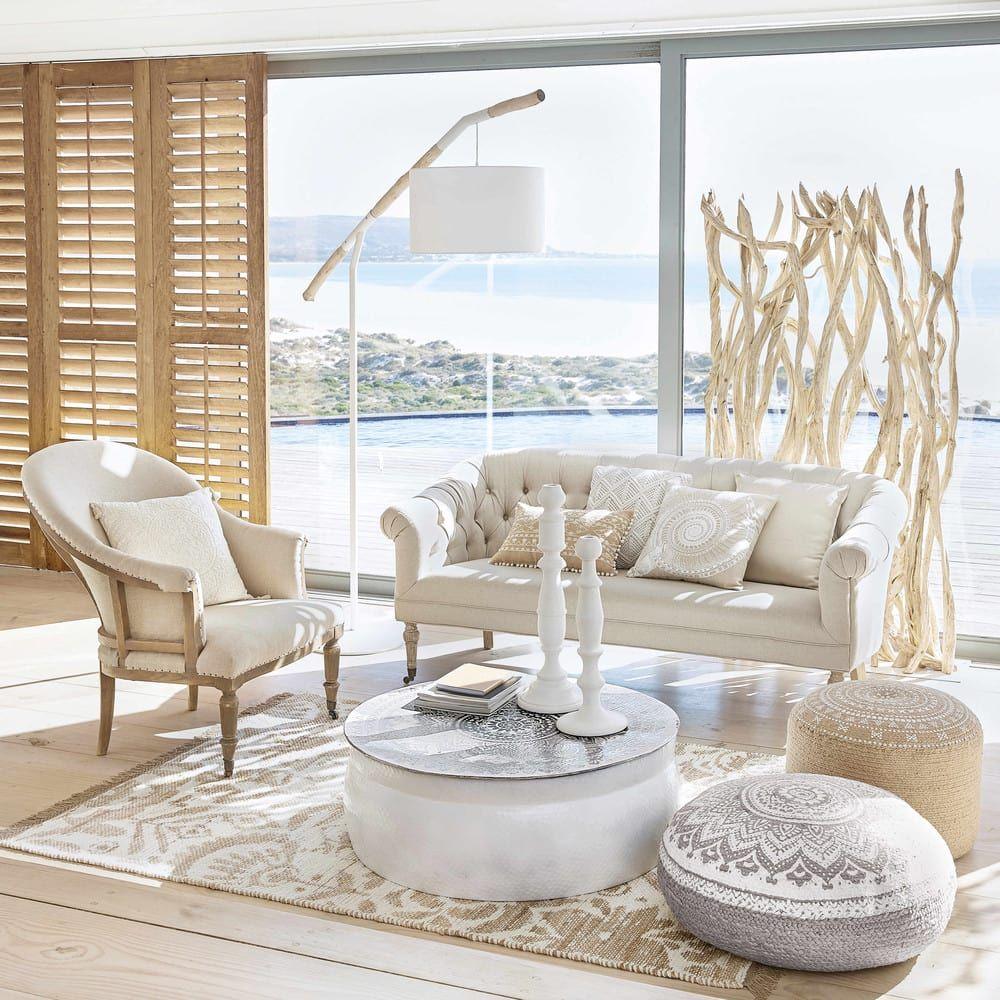 living room, glass windows, white sofa, white chair, ottomans, white round coffee table