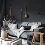 Living Room, Grey Floor, Grey Wall, Grey Sofa, White Coffee Table