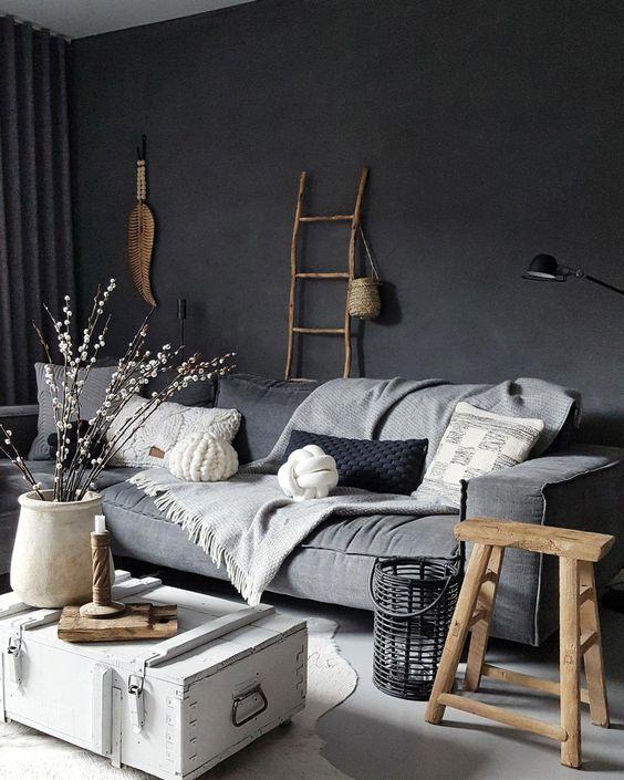 living room, grey floor, grey wall, grey sofa, white coffee table
