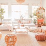 Living Room, Rattan Rug, White Wall, Rattan Swing, Round Wooden Coffee Table, White Sofa, Ottomans