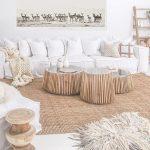Living Room, Rattan Rug, White Wall, White Sofa, Rattan Round Coffee Tables