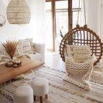 Living Room, White Wooden Floor, White Sofa, White Sofa, Wooden Coffee Table, Rattan Swing, White Stools, Rattan Pendant