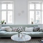 Living Room, Wooden Floor, Patterned Rug, White Wall, Grey Sofa, White Marble Round Table