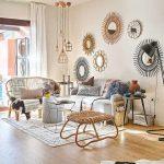 Living Room, Wooden Floor, White Wall, Pendants, Grey Sofa, Rattan Sofa, Rattan Ottoman, Side Tables, Black Floor Lamp