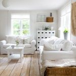 Living Room, Wooden Floor, White Wall, White Sofa, White Coffee Table, Wooden Basket, White Round Pendant, White Cabinet