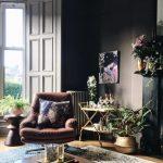 Living Room, Wooden Floor, Wooden Coffee Table, Black Wall, Black Fireplace, Grey Window