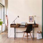 Long Dark Wooden Study, Black Table Lamp, Black Modern Chair